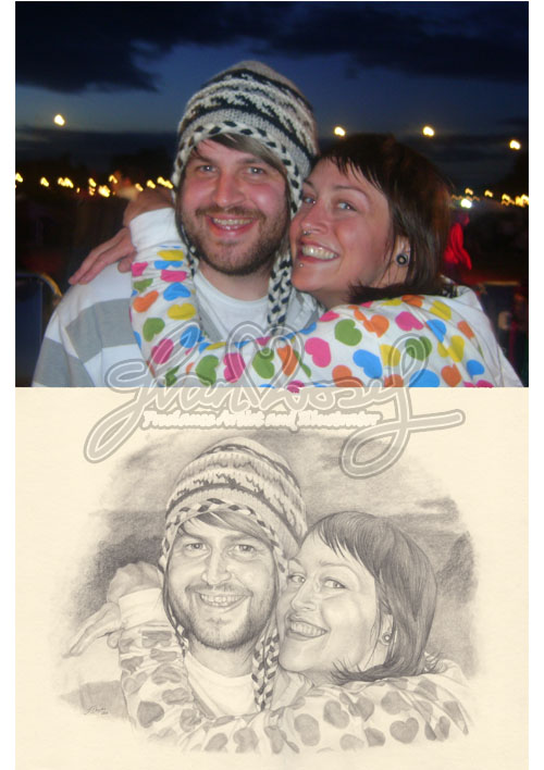 Couple, photo and drawing